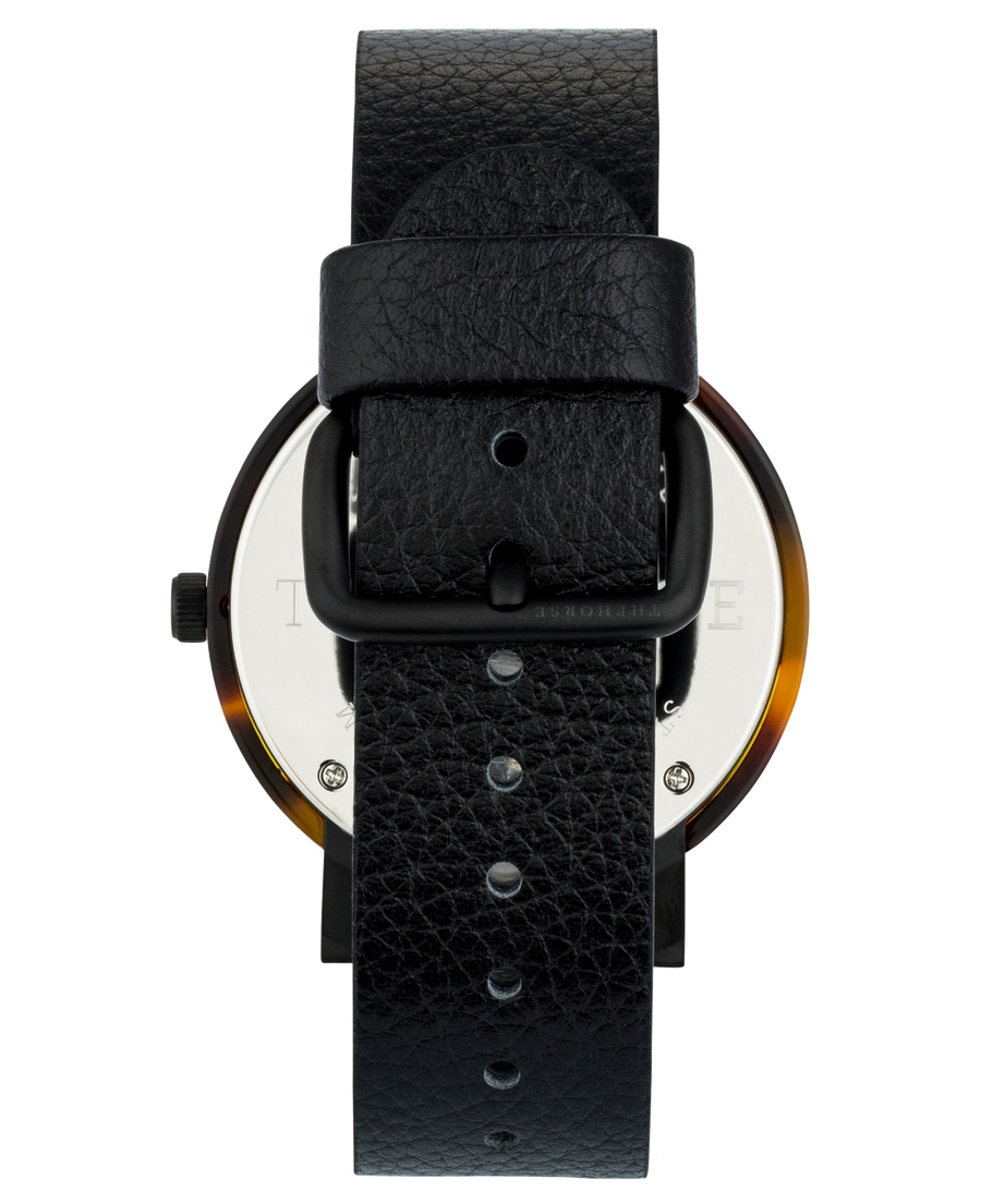 Mini Resin: Brown Tortoise Shell/ Black Dial/ Black Leather