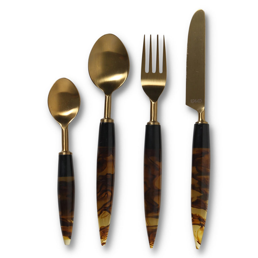 Smokey Amber Cutlery Set of 4