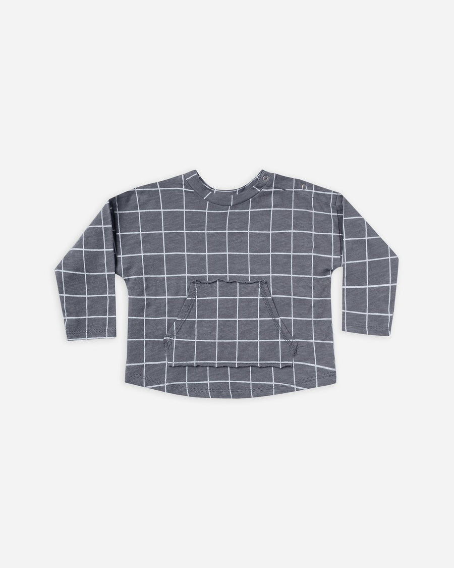 Long sleeve Pouch Tee - Grid