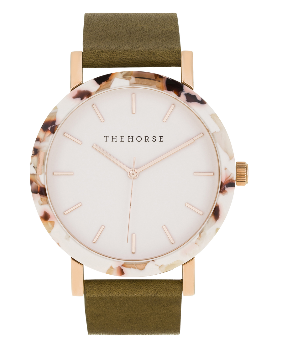 Resin: Nougat Case/ White Dial/ Rose Gold Index/ Olive Leather