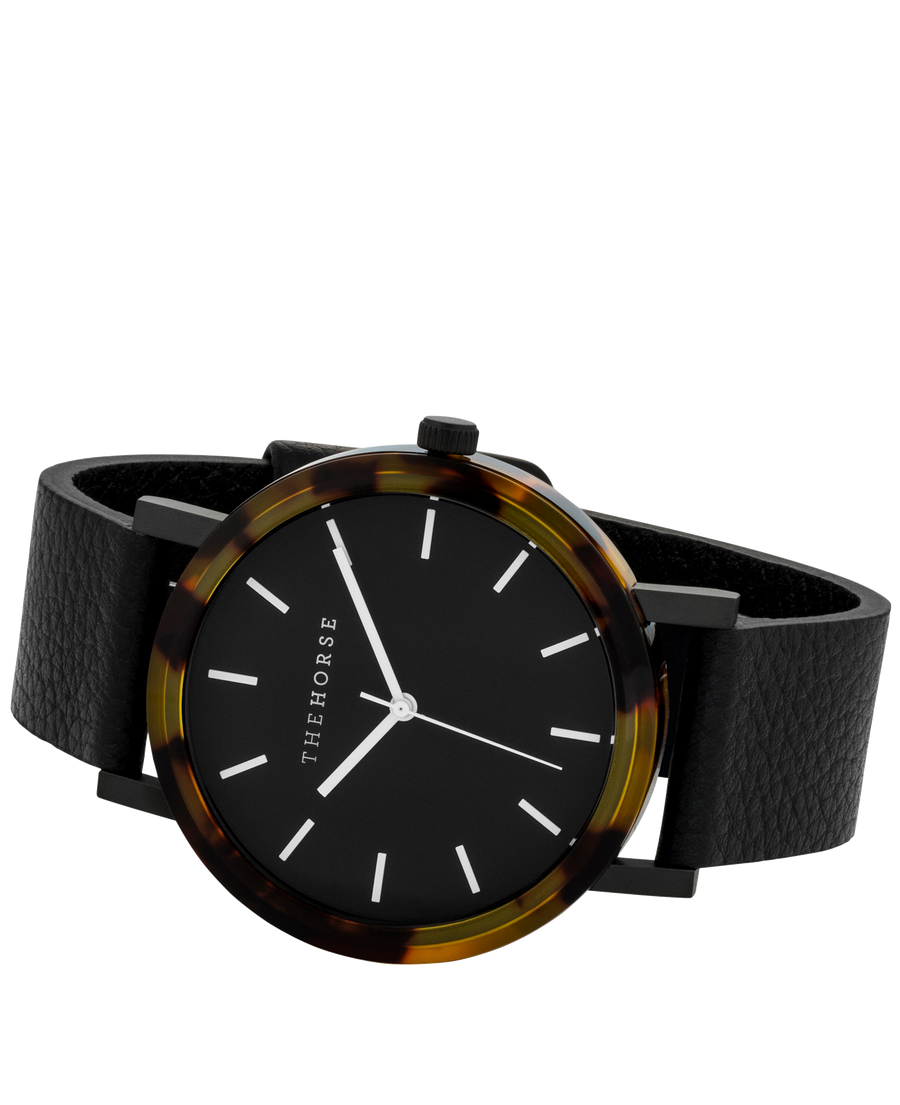 Resin: Brown Tortoise Shell/ Black Dial/ Black Leather