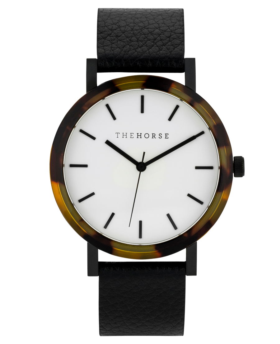Mini Resin: Brown Tortoise Shell/ White Dial/ Black Leather