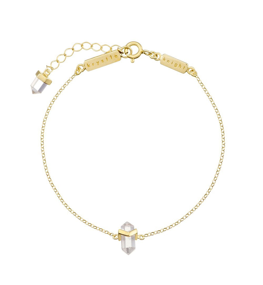 Mini Zion Bracelet - Clear Quartz Crystal Gold Plated