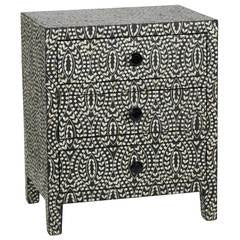 Bone Inlay 3-Drawer Bedside - Classic Vine