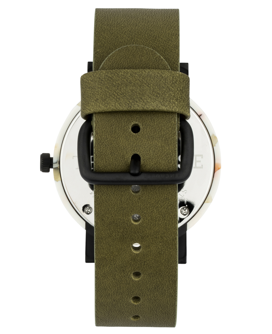 Mini Resin: Nougat Shell/ White Dial/ Olive Leather
