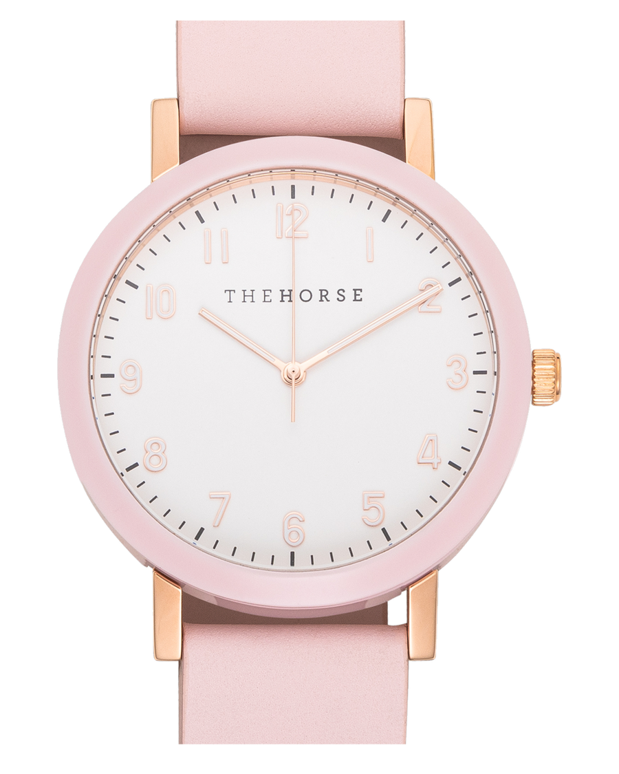 The Resin - Pink Case / White Dial / Pink Leather Strap
