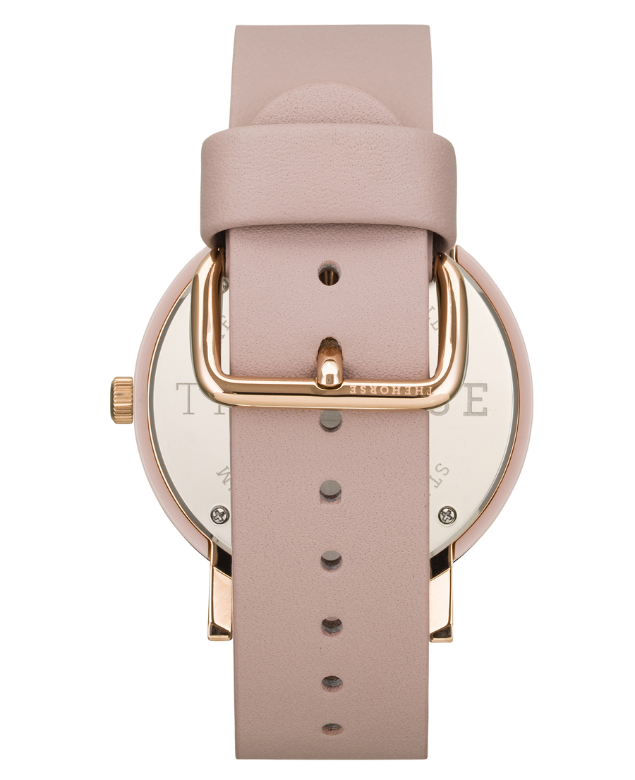 The Resin - Pink Nougat Shell / White Dial / Baby Pink Leather Strap