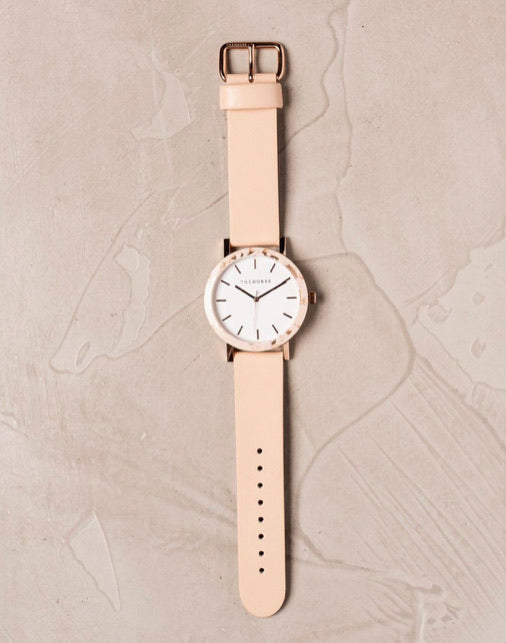 The Resin - Peach Speckle Case / White Dial / Rose Gold Indexing / Vegetable Tan Leather Strap