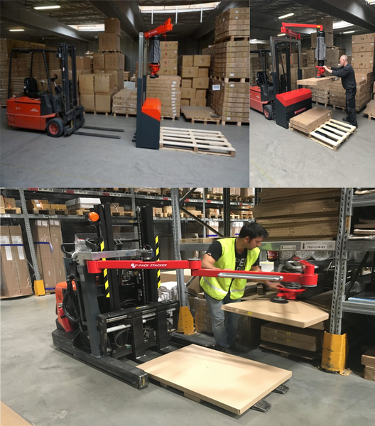 Handling solution with mobile unit (order picker) for all kind of products - Solution d'unité de manipulation ergonomique avec différent types de préhension ventouse