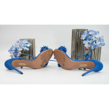 Load image into Gallery viewer, Aquazzura Royal Blue Suede Fringe Lace Up Stilletto Heels Shoes Sz 39 9