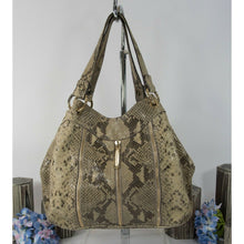 Load image into Gallery viewer, Michael Kors Sand Python Snake Leather Moxley Hobo Shoulder Bag GUC