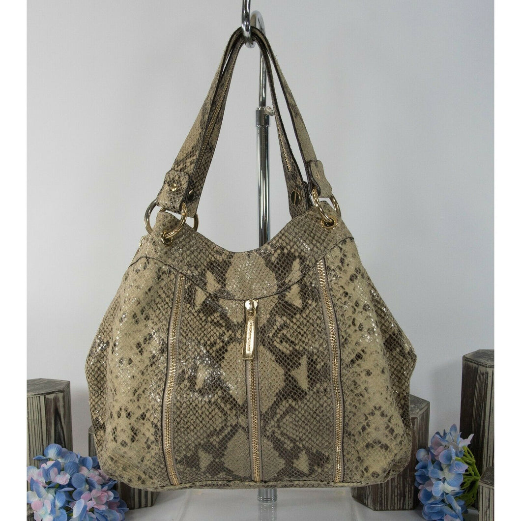 Michael Kors Sand Python Snake Leather Moxley Hobo Shoulder Bag GUC