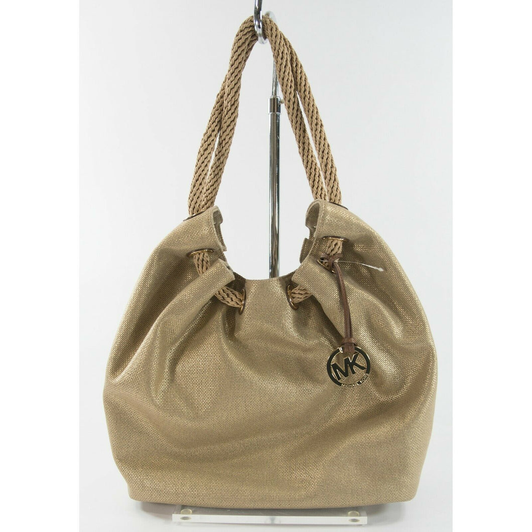 Michael Kors Marina Large Gold Gathered Drawstring Canvas Hobo Shoulder Bag NWT