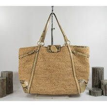 Load image into Gallery viewer, Coach Hamptons Natalie Weekender Exotic Leather Straw Large Tote Bag 16838 EUC