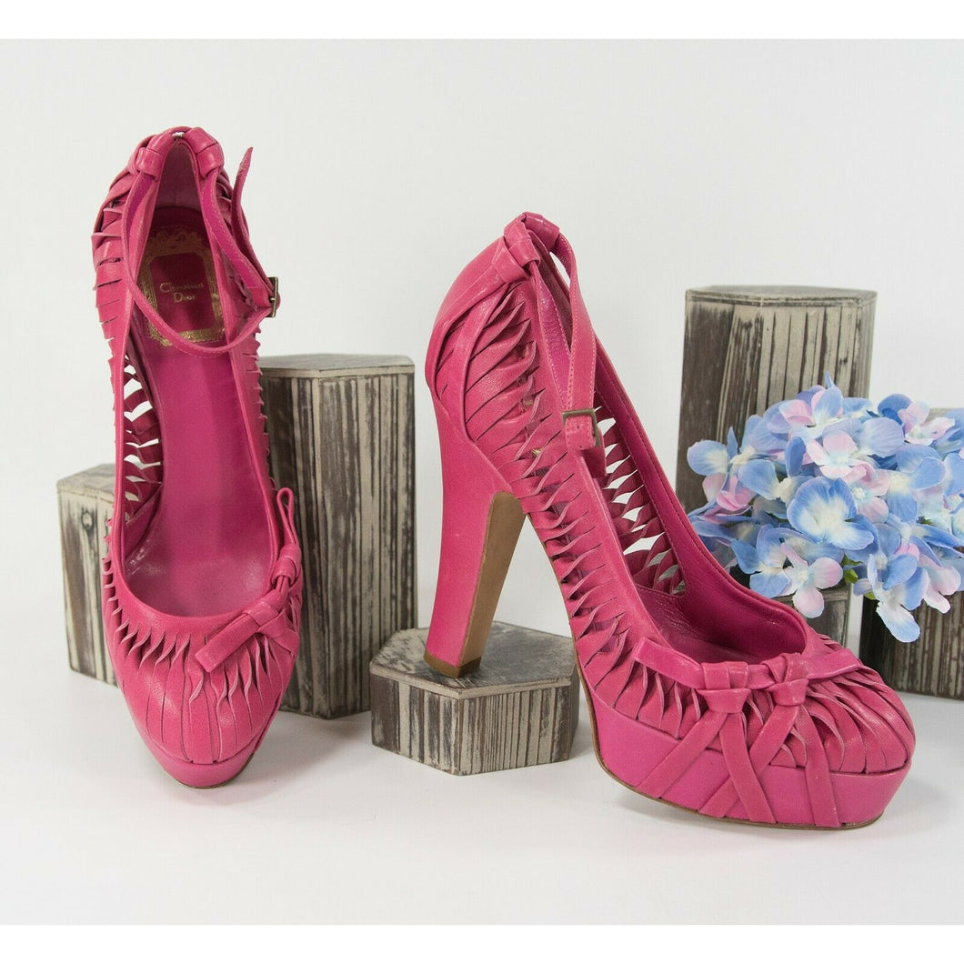 Christian Dior Hot Pink Fuchsia Twisted Leather Platform Pumps 37.5