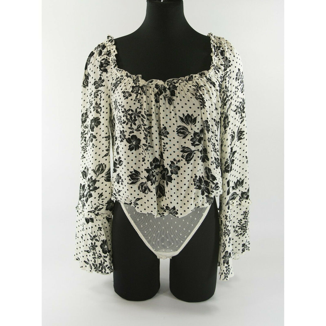 Free People Black White Floral Peasant Bell Sleeve Blouse Thong Bodysuit XS
