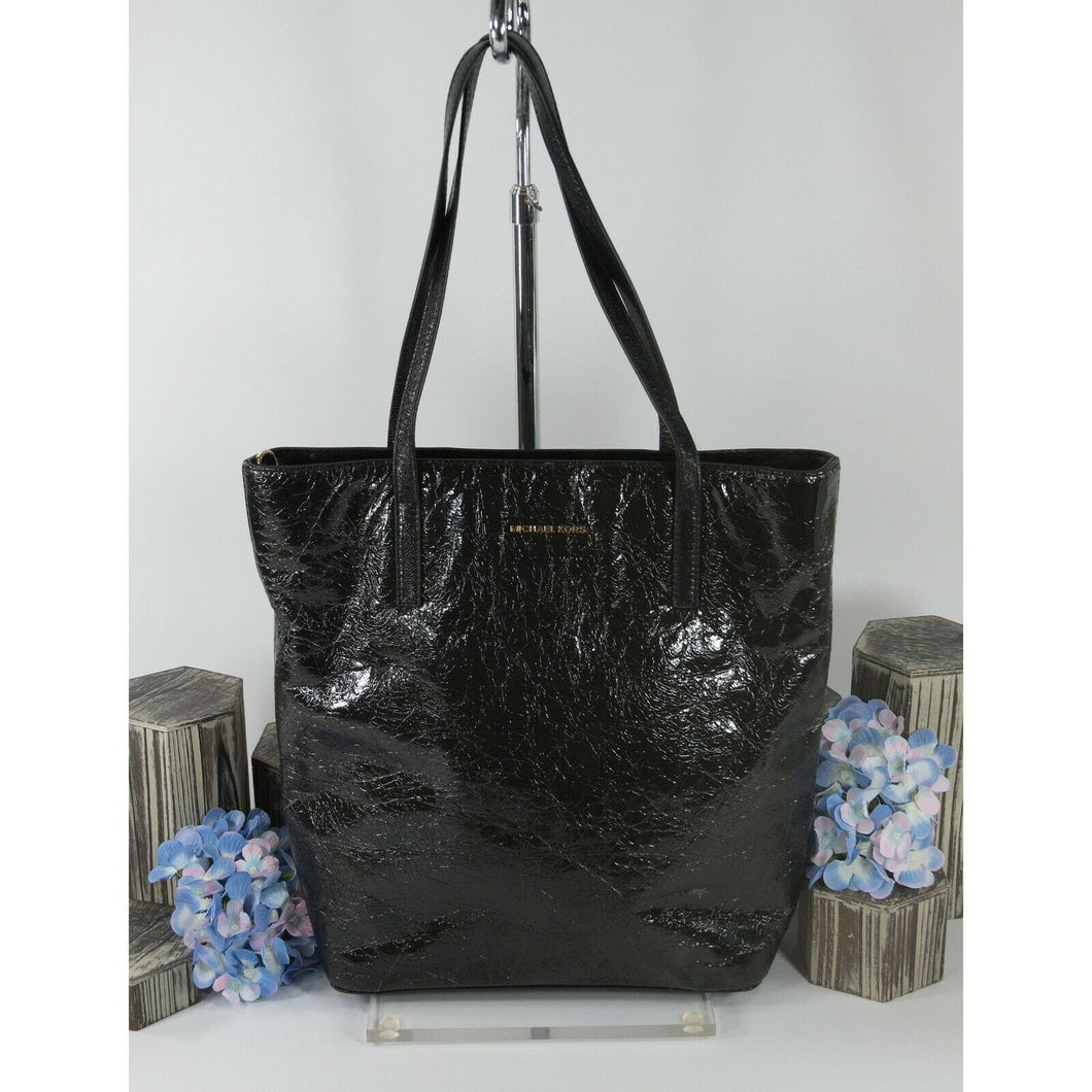 Michael Kors Emry Black Crinkled Leather Large Tote Bag NWT
