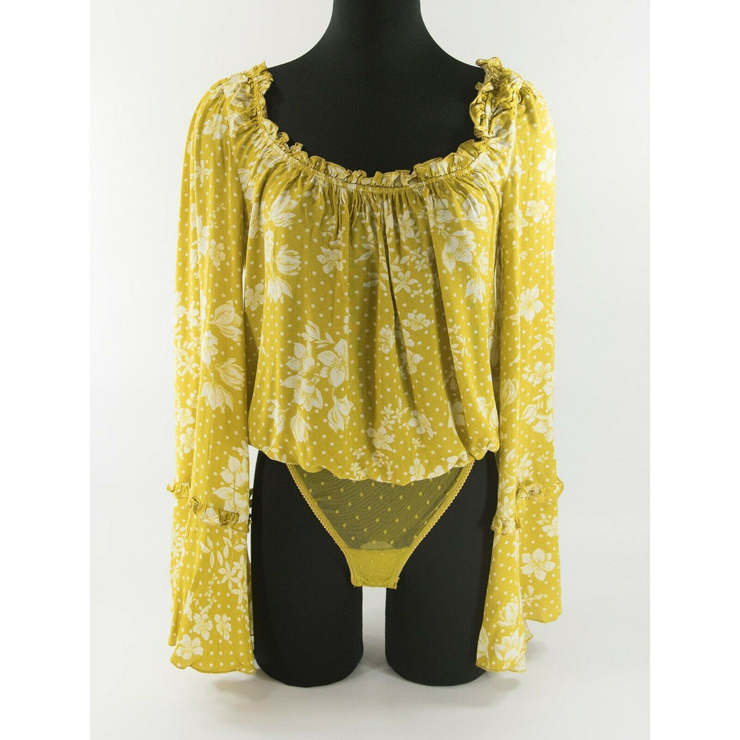 Free People Mustard Yellow Floral Peasant Bell Sleeve Blouse Thong Bodysuit L