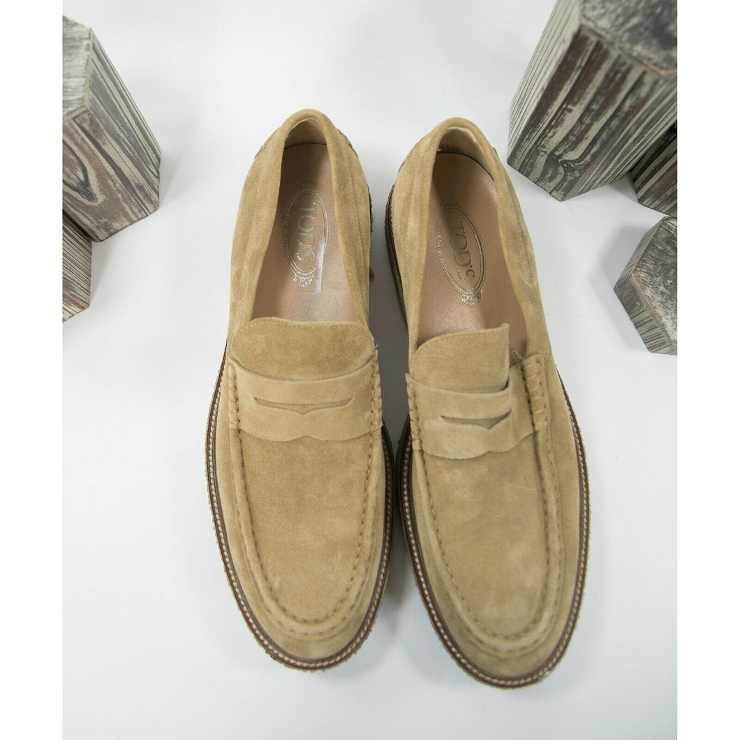 Tods Tan Suede Penny Loafer Oxford Size 11