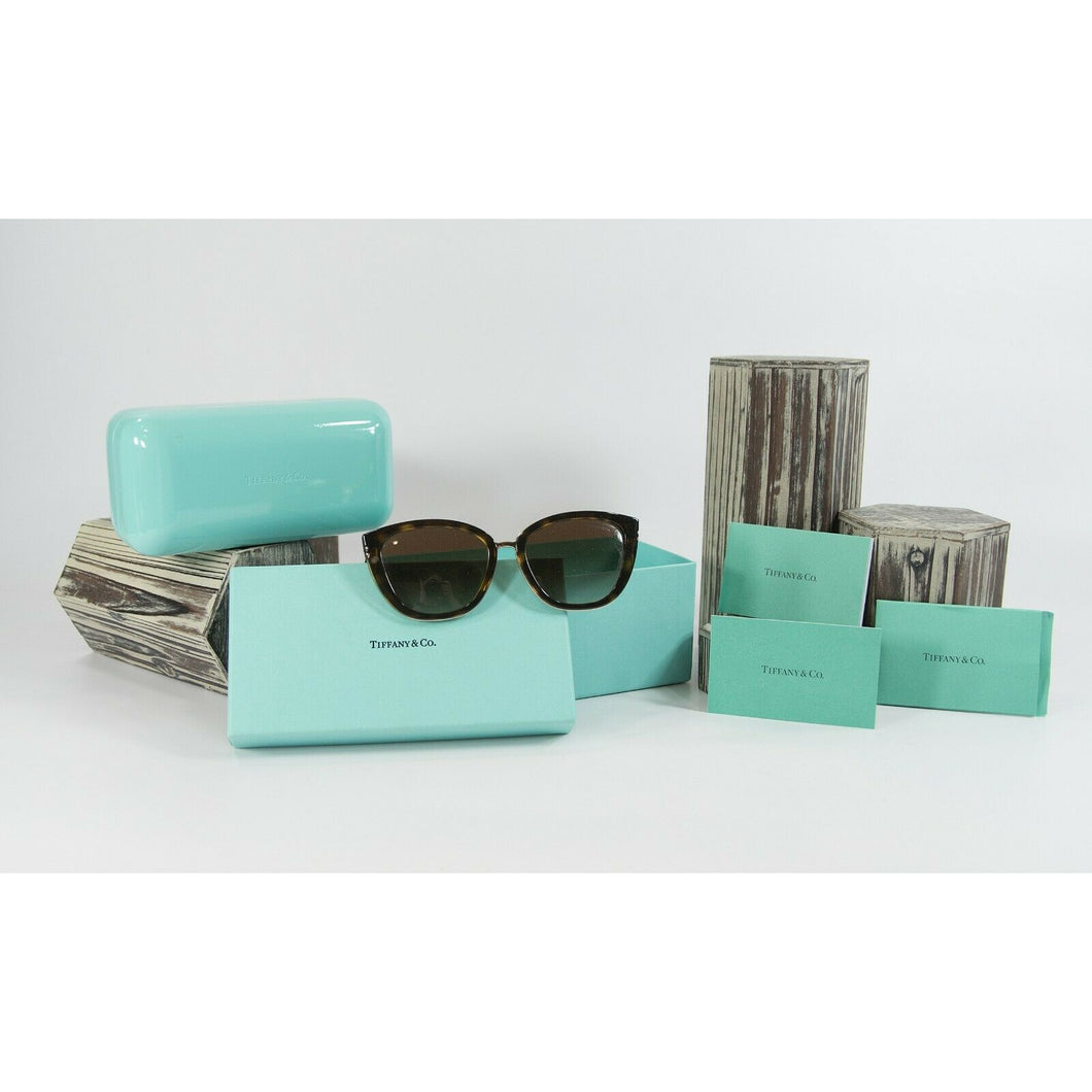 Tiffanys TF4152 Logo Brown Tortoise Logo Cat Eye Sunglasses with Case and Box