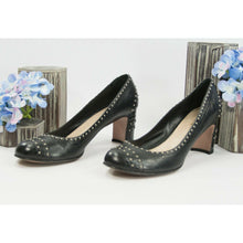 Load image into Gallery viewer, Prada Studded Black Leather Block Heels Shoes Sz 39.5 9.5