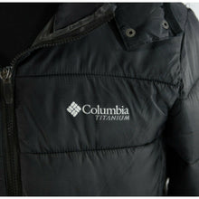Load image into Gallery viewer, Columbia Black Nylon Titanium Powder Lite Hooded Goose Down Puffer Jacket XL