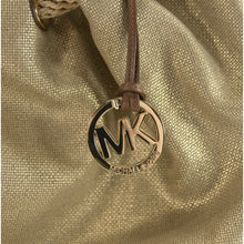 Load image into Gallery viewer, Michael Kors Marina Large Gold Gathered Drawstring Canvas Hobo Shoulder Bag NWT