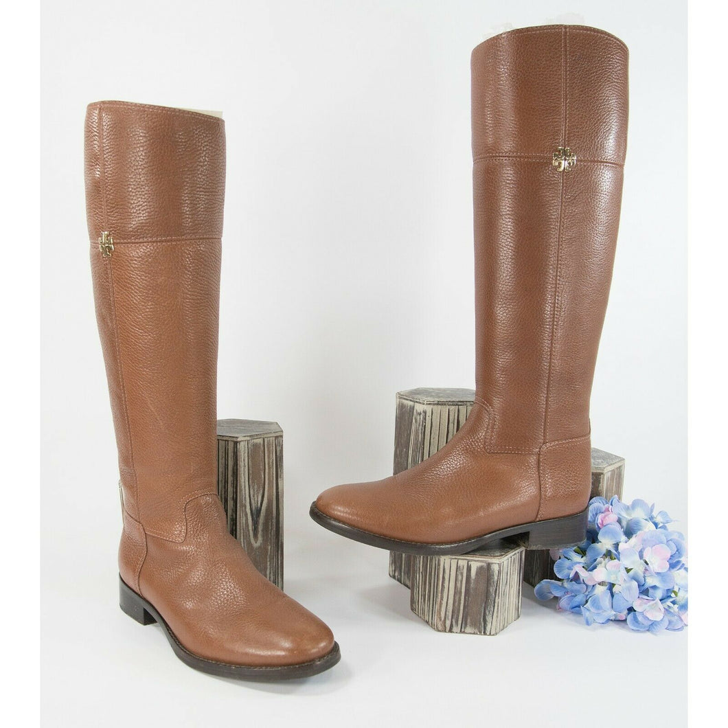 Tory Burch Rustic Brown Jolie Pebbled Leather Tall Riding Boots Sz 6