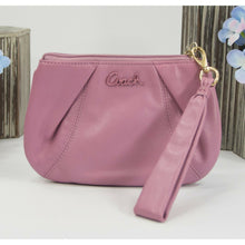 Load image into Gallery viewer, Coach Orchid Leather Pleated Wristlet Wallet Bag EUC