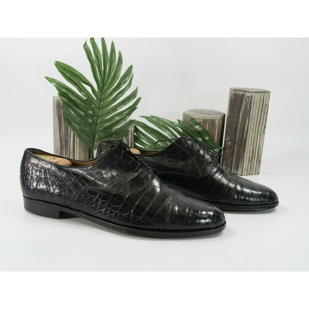 Davanzati Black Croc Leather Lace Up Oxford Loafer Shoes Size 13
