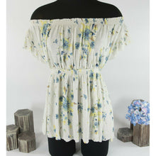 Load image into Gallery viewer, Free People Sam Off The Shoulder Ivory Floral Empire Waist Boho Peasant Top Sz L