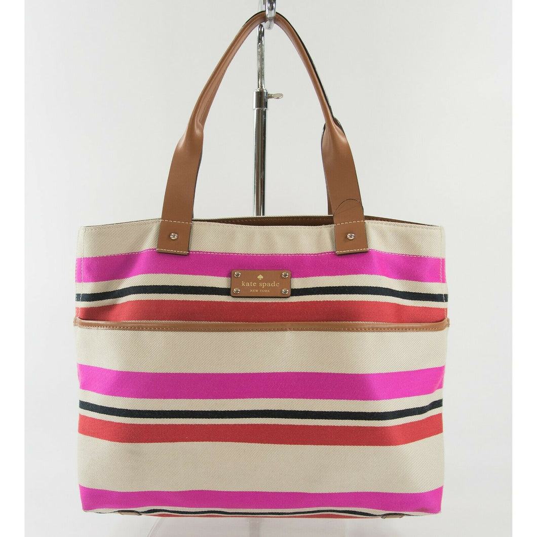 Kate Spade Oak Island Canvas Stripe Leather Trim Magazine Tote Bag GUC