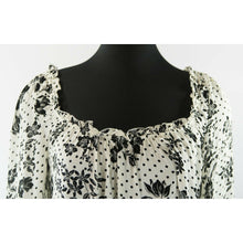 Load image into Gallery viewer, Free People Black White Floral Peasant Bell Sleeve Blouse Thong Bodysuit XS
