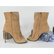 Load image into Gallery viewer, Gucci Scamosciato Camelia Kid Suede High Heel Open Toe Fringe Booties Sz 41.5