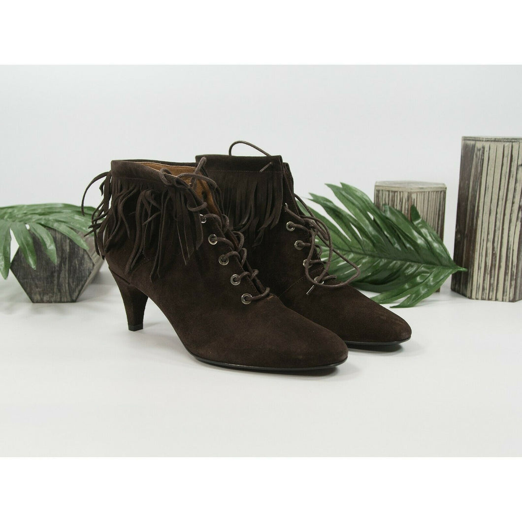 Maje Marron Brown Suede Kitten Heel Lace Up Fringe Ankle Boot Shoes Sz 36 6