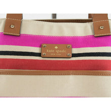Load image into Gallery viewer, Kate Spade Oak Island Canvas Stripe Leather Trim Magazine Tote Bag GUC
