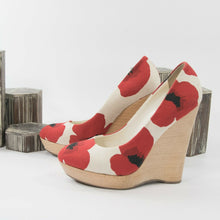 Load image into Gallery viewer, YSL Yves Saint Laurent Poppy Canvas Wedge Platform Pumps 39.5 9.5