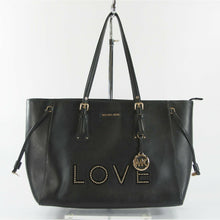 Load image into Gallery viewer, Michael Kors Love Studded Black Leather Large Voyager Top Zip Tote Bag NWT
