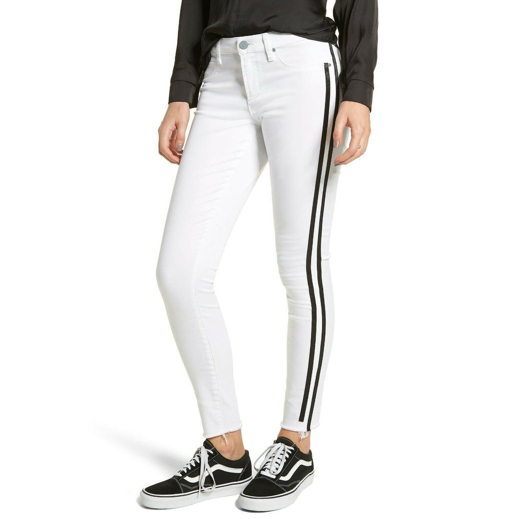 Articles of Society Munich White Skinny Racer Stripe Mid Rise Jeans Size 25 NWT