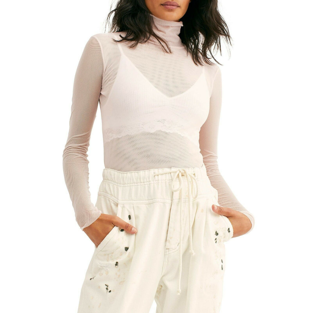 Free People Double Layer Ivory Nylon Mesh Mock Turtleneck Fitted Shirt L
