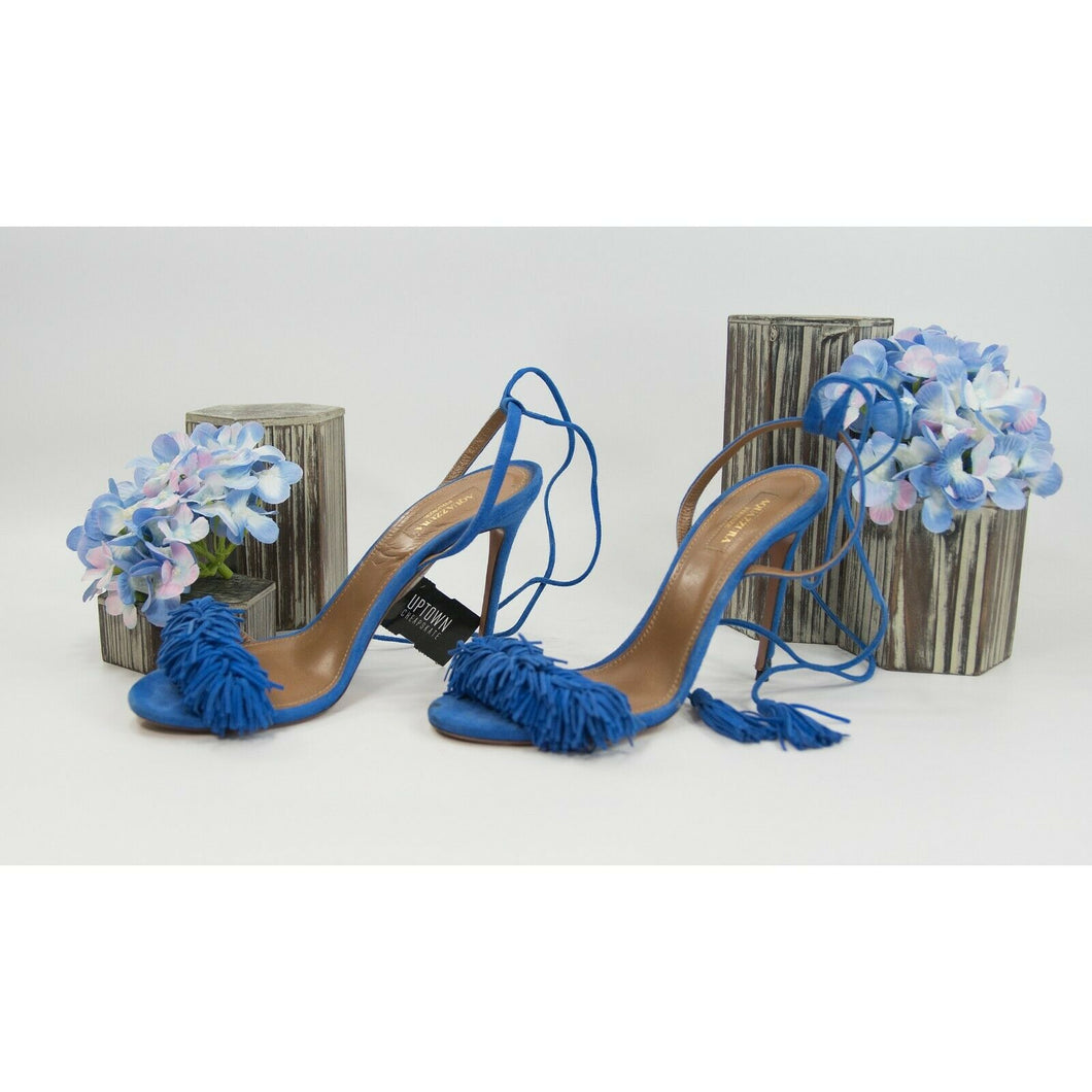 Aquazzura Royal Blue Suede Fringe Lace Up Stilletto Heels Shoes Sz 39 9