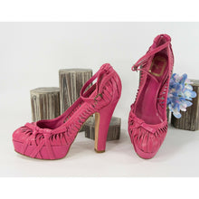 Load image into Gallery viewer, Christian Dior Hot Pink Fuchsia Twisted Leather Platform Pumps 37.5