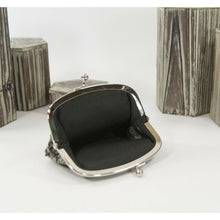 Load image into Gallery viewer, Coach Signature Stripe Black Mini Logo Kiss Lock Coin Purse Wallet