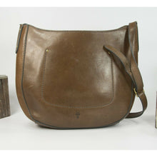 Load image into Gallery viewer, Frye Vintage Brown Smooth Distressed Leather Hobo Saddle Crossbody Bag EUC