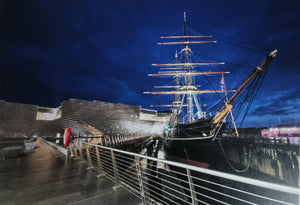 RRS Discovery at Night Greetings Card