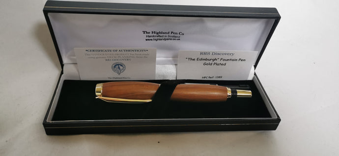 Edinburgh Gold Plated Fountain Pen made from RRS Discovery Decking