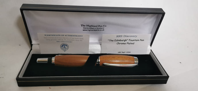 Edinburgh Silver Plated Fountain Pen handcrafted from RRS Discovery Decking