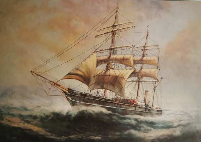 RRS Discovery at Sea Greetings Card
