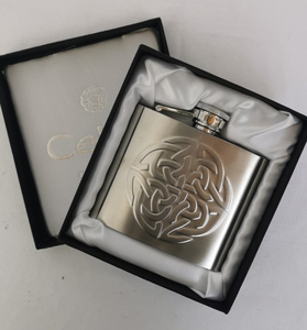 4oz Stainless Steel Celtic Knot Hip Flask