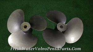 Volvo Penta Elephant Ear 16 x 17 L & R Long Hub 280 290 Sp Prop Set AQ series 17 spline